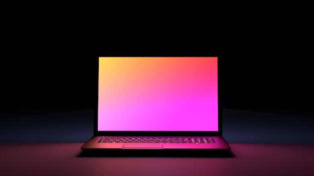 ピンクイエロー色のディスプレイが付いたブラックデスクラップトップコンピューター。