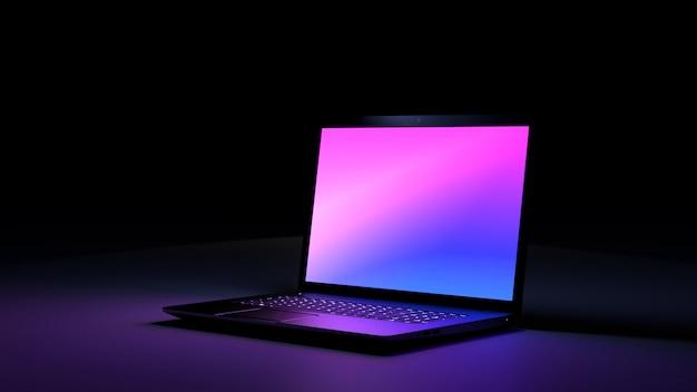 カラーピンクパープルライトディスプレイの黒いデスクラップトップコンピューター。