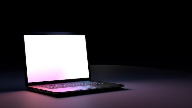 Ноутбук с пустой экран и смартфон.
