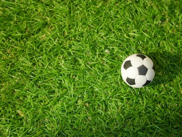 緑色の草原にサッカーボール。上から見た図