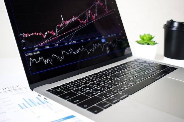 Экран портативного компьютера показывает финансовые диаграммы и графики в офисе.