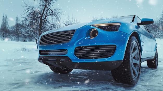 冬時間と雪の中で車。