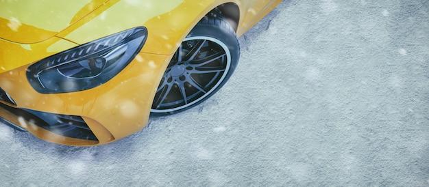 冬の道の車。