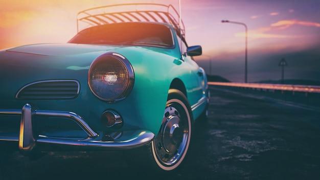 Синий классический автомобиль.