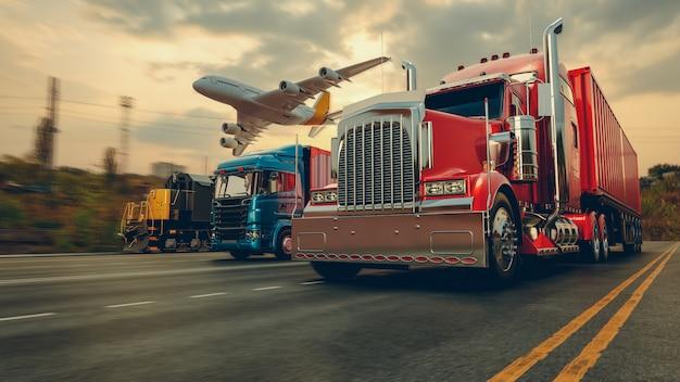 コンテナ貨物船と貨物飛行機の輸送と物流