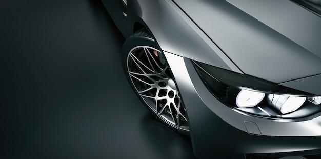 Высокий угол черного спортивного автомобиля