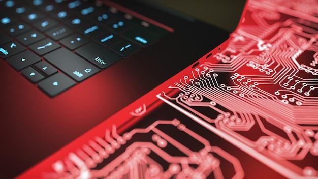 ラップトップコンピューターと回路基板。