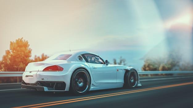 道路上の白いスポーツカー。