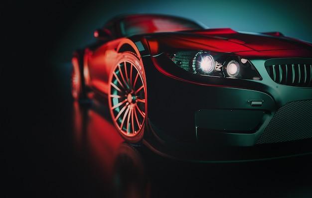 Черный спортивный автомобиль.