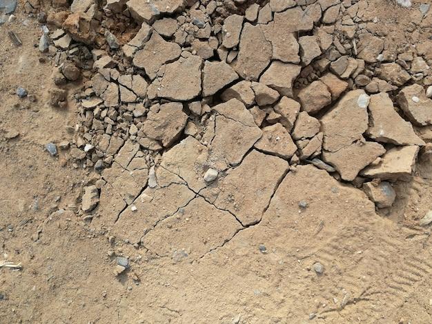 乾燥土壌を背景にひび割れ