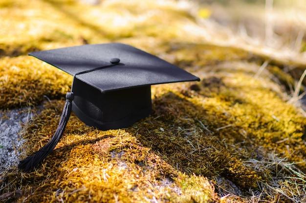 日の出の柔らかな光の中で芝生のフィールド上の卒業の帽子