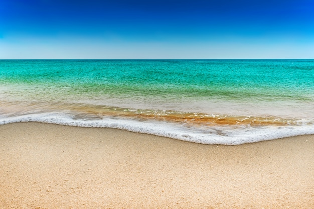 青い海と青い空に白い砂浜