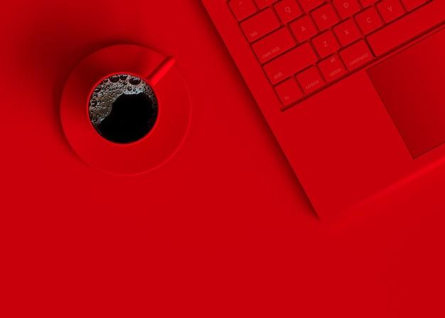 Черный кофе красный кубок минимальная концепция