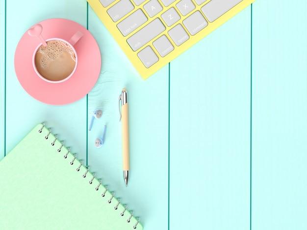 Кофе молоко в розовой чашке на рабочем столе с записной книжкой, ручкой с клавиатурой и наушниками