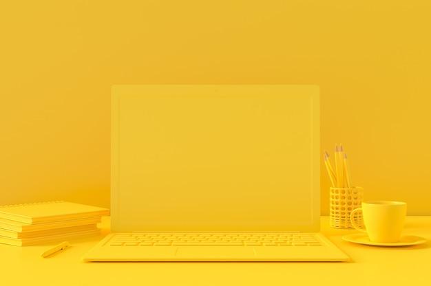 テーブルにノートパソコンワークデスク最小限のコンセプト