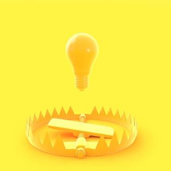 黄色のパステルカラーのトラップに浮かぶ電球