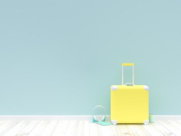 Минимальная идея концепции. чемодан желтого цвета
