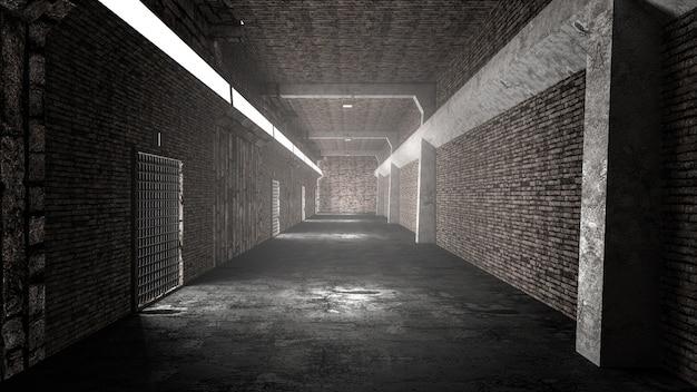 リアルな古いトンネルまたは古い刑務所の廊下