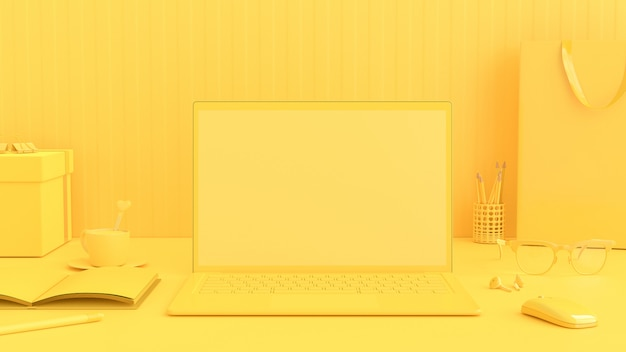 最小限のアイデアコンセプト、仕事机の上のラップトップ