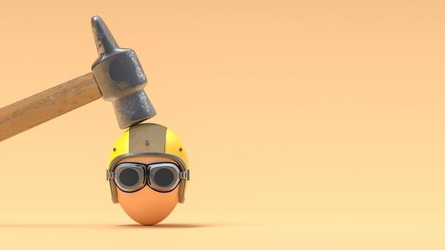 ヘルメットを着用して卵を粉砕するハンマー。