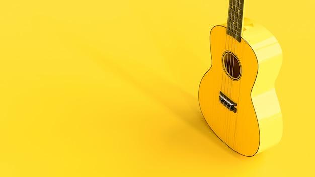 立っている黄色いウクレレ