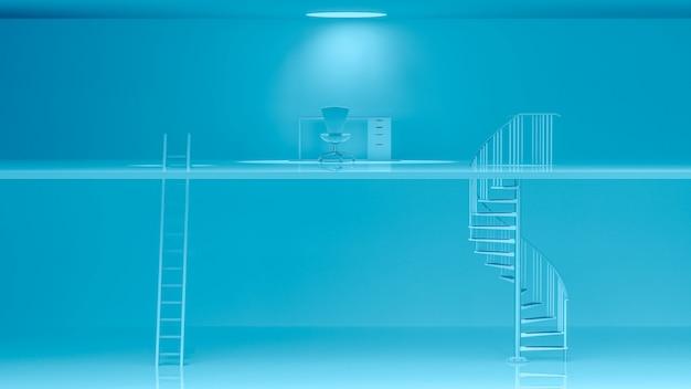 Синие лестницы с разными характеристиками и рабочим столом.