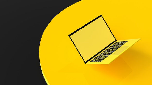 作業机の上のラップトップの黄色の空白の画面。