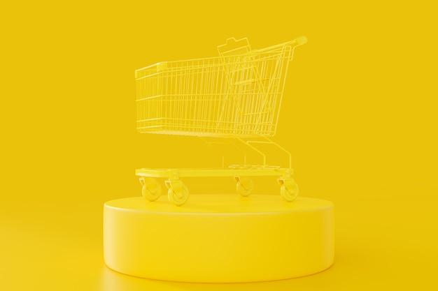 クリッピングパスと黄色のショッピングカート
