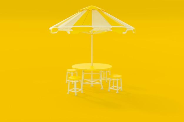 Желтый стол и стулья и зонт