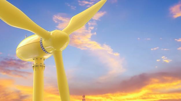黄色の風力タービンのエネルギー生産。