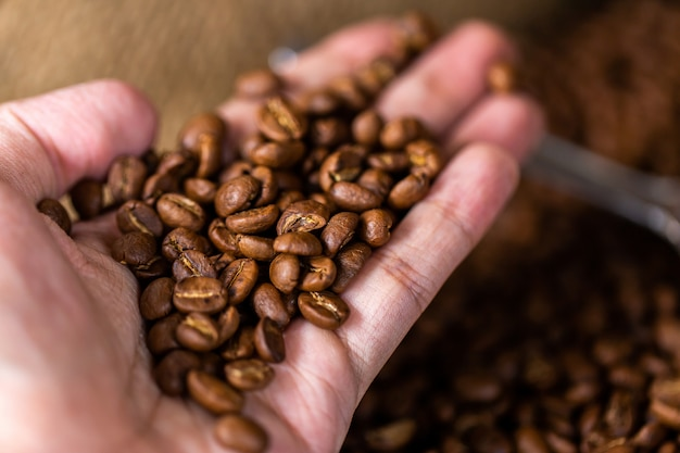 コーヒー豆。木製の背景の回転