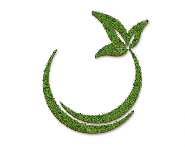 緑の芝生サークルとリーフプレートの表面
