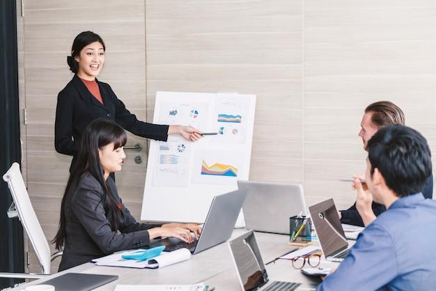 ノートパソコンを使用して、会議室で一緒に議論する実業家。チームワークの概念