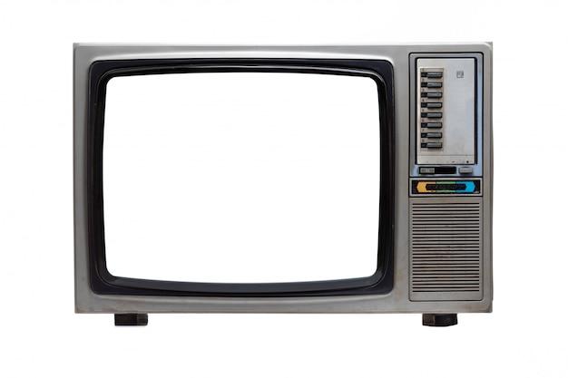 白で隔離される白い空白の画面とビンテージテレビ。