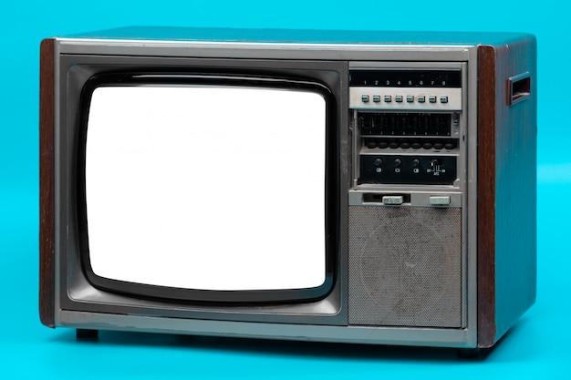 青に分離されたビンテージテレビ