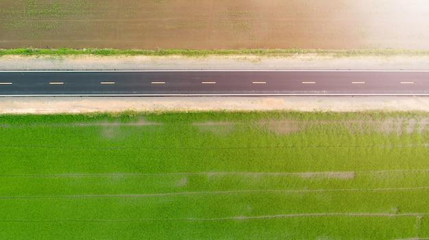 トップビューで緑の田園地帯とアスファルト道路の空中。