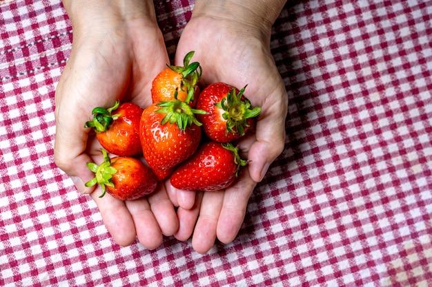 赤い布の上に大きなイチゴを保持している女性