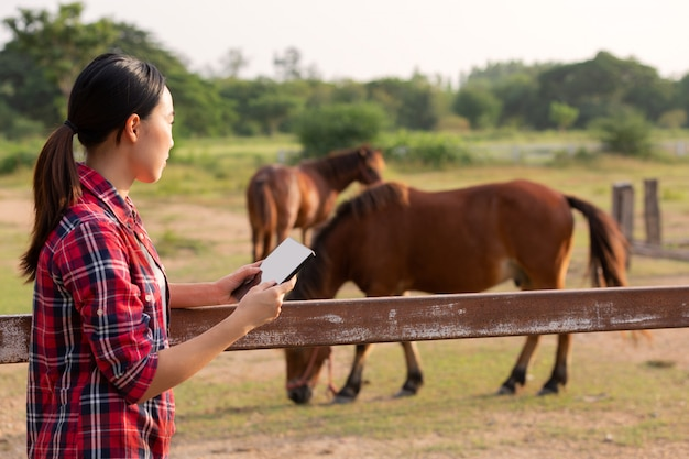 農業産業農業技術と畜産コンセプト-タブレット農業現代技術コンセプトによる品質チェックタブレットを持つ農家。