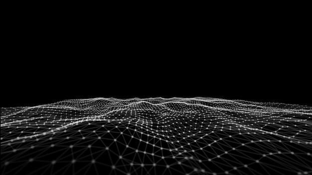 白い波背景。抽象的な白い未来的な背景。暗い背景上の点と線を接続すると波。粒子の波。