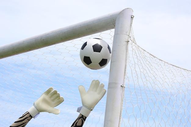 サッカーのゴールキーパーの手がボールに達する