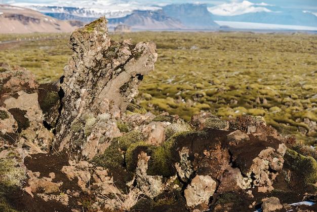 アイスランドのエルドラハン川流域におけるモス岩の流出