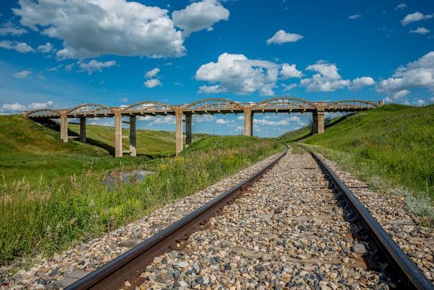 スコットランドのスコットランドの古いコンクリート橋の下に鉄道の線路
