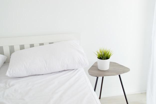 Простой белый номер с зеленым растительным растением