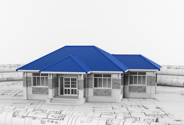 描画ツールとハウス、建築、工学のコンセプトを用いた建設計画。
