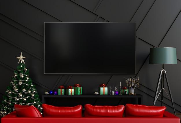 モックアップスマートテレビ。クリスマスのインテリアリビングルーム。