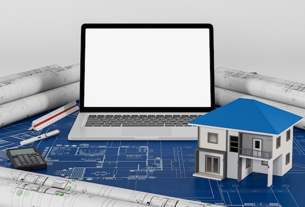 ラップトップと住宅の建設計画、建築と工学のコンセプト。
