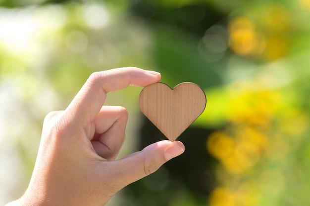 Рука, держащая маленькое деревянное сердце на зеленом фоне. сердечная болезнь