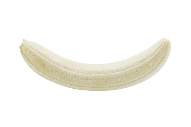 白い背景に껍かれた熟したバナナ