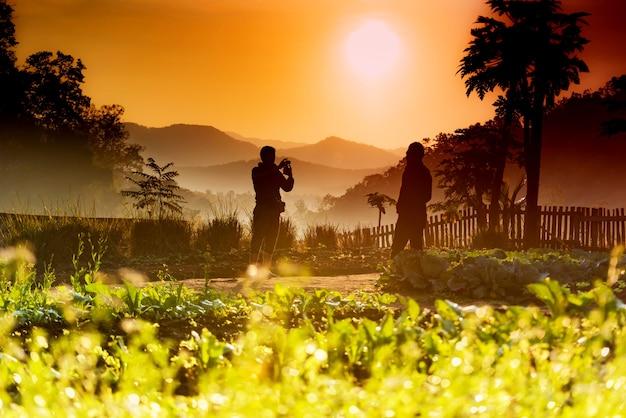 朝の金色の光でカメラマンのシルエット