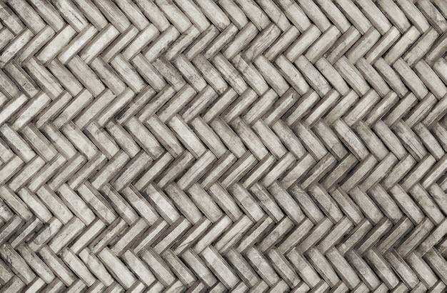 古い竹織りパターン、籐マットテクスチャ背景。